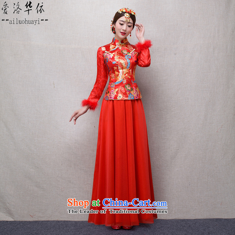 In accordance with the marriage of China love bows services 2015 winter new bride red retro improved Chinese qipao Sau Wo service long ancient wedding dress Warm Kit long gown dress + model Head Ornaments�S