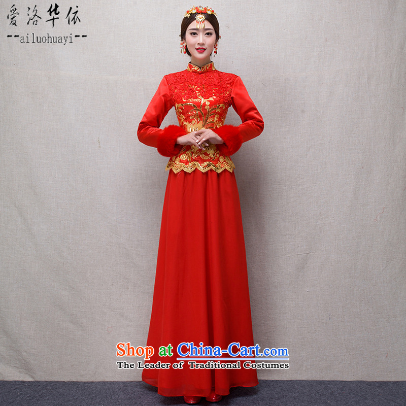 The Chinese in accordance with the Chinese love qipao 2015 winter new marriages cheongsam red long service to the dragon use soo drink Wo Service Female dress winter, long-sleeved retro?XL