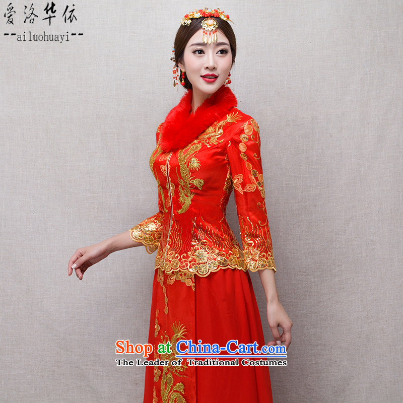 The Chinese dragon in love use marriage bows services-soo Wo Service 2015 new bride retro Chinese improved red kit winter cheongsam plus cotton warm wedding dress suit + Head Ornaments?M