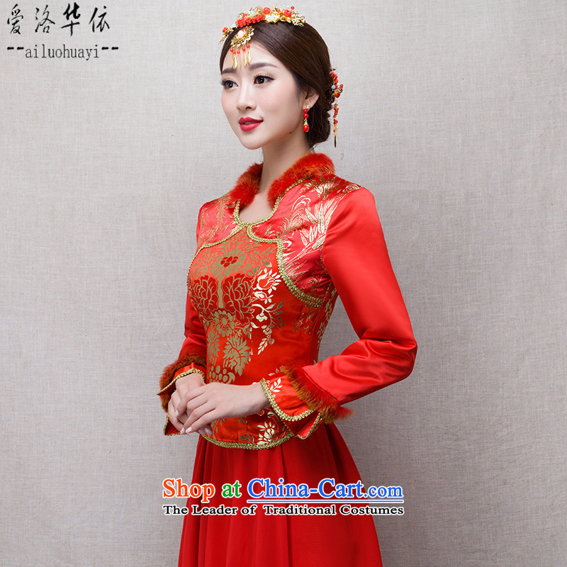 The final in accordance with the marriage of China love bows services 2015 winter new bride red long qipao Kit Chinese costume show Wo Service retro warm Maomao collar  fuguihua dress + model Head Ornaments燣