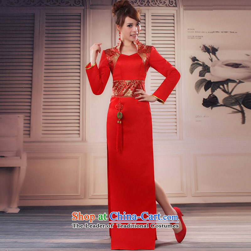 The knot true love etiquette welcome Miss cheongsam dress short of Olympic etiquette school Chorus Concert etiquette to welcome cheongsam red long long-sleeved?L