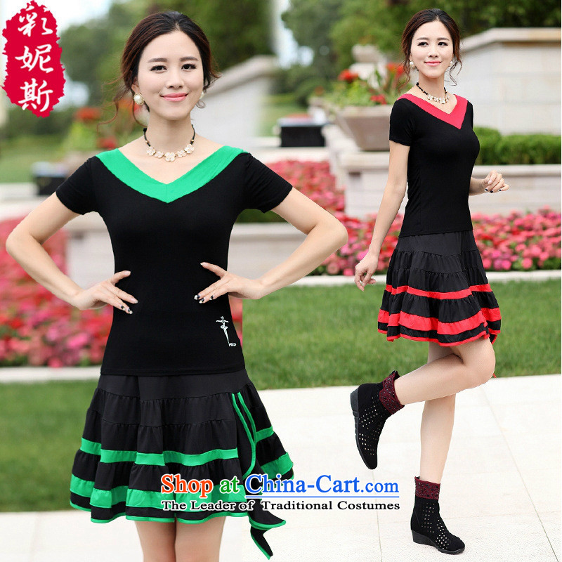 The Black Butterfly autumn and winter clothing in the new product of older women Dance Dance Dance Plaza Service skirt kit long-sleeved green collar black T-shirt + black-green petticoats�M