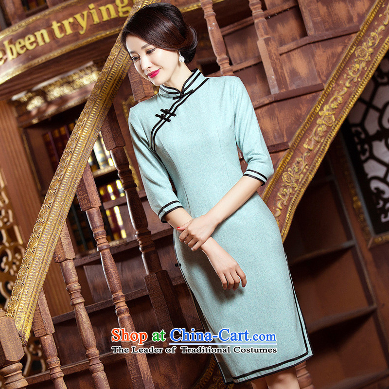 The five senses figure for燼utumn and winter 2015 new products in a literary and art nouveau cuff in long double bilateral stylish cheongsam dress dress photo color燲XL