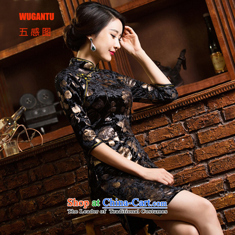 Figure 5 Senses older wedding wedding dresses large upscale mother in long-sleeved Kim installed cheongsam dress photo color velvet cheongsam�XXL