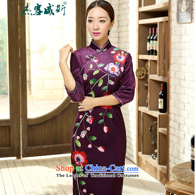 In the spring and autumn jie female Tang dynasty qipao positioning poster stretch of 7_manual detained Kim scouring pads cheongsam dress female figure燲XXL