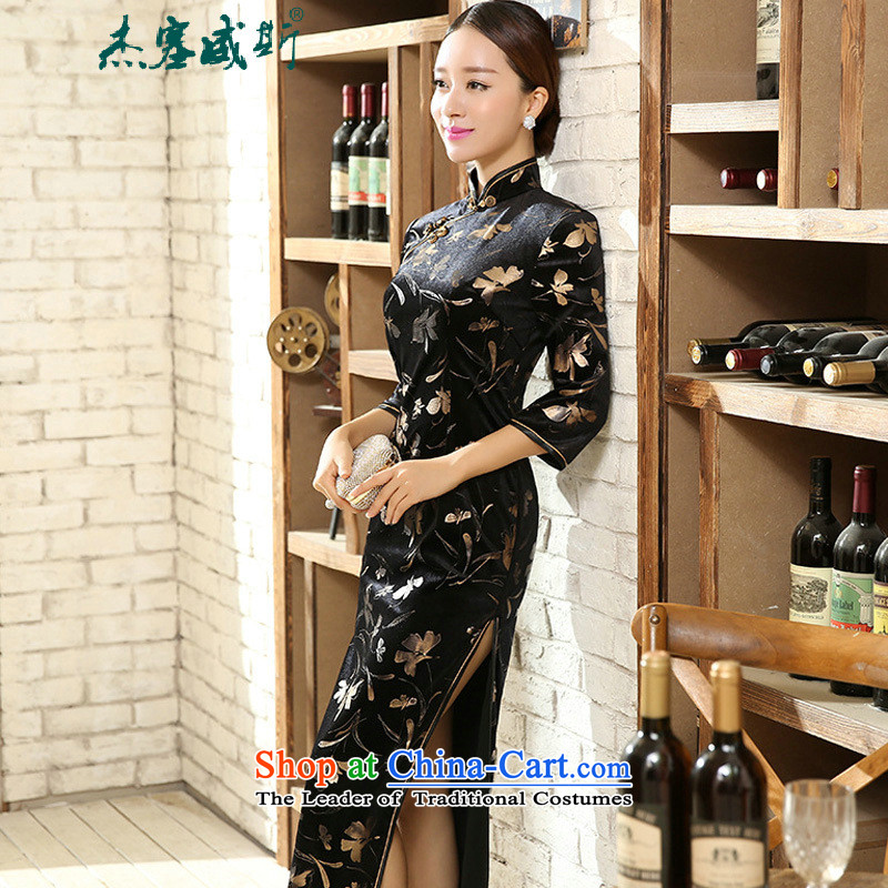 In the spring and autumn jie female Tang Dynasty Chinese classical elastic Kim qipao velvet collar manually detained seven long-sleeved cheongsam dress female figure聽XXL