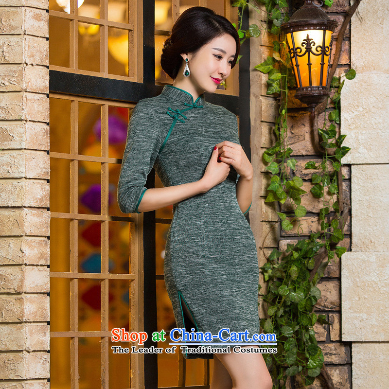 The five senses figure for燼utumn and winter 2015 new products, in short? gross cuff qipao arts retro Sau San video thin dresses dress photo color燬