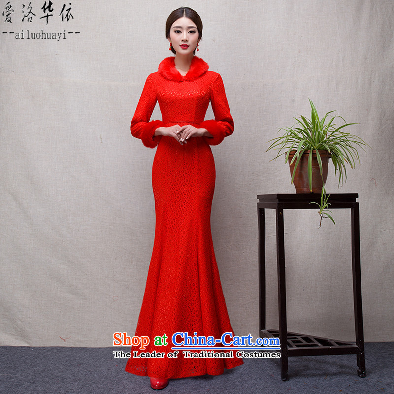 The Bride In China love bows services 2015 new winter red long crowsfoot qipao Sau San evening long-sleeved marriages qipao winter Maomao collar warm red燤