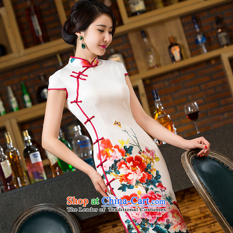 The autumn 2015 figure five-sense new graphics and slender qipao daily Sau San improved Mock-neck cheongsam dress bilateral long qipao gown picture color XXL