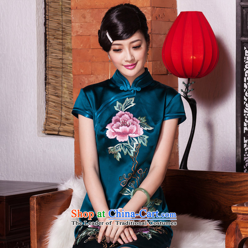 Reset the seal of 2015 silk embroidery cheongsam upscale ethnic improved manually push Ms. embroidered stylish color picture?XXXL Cheongsam