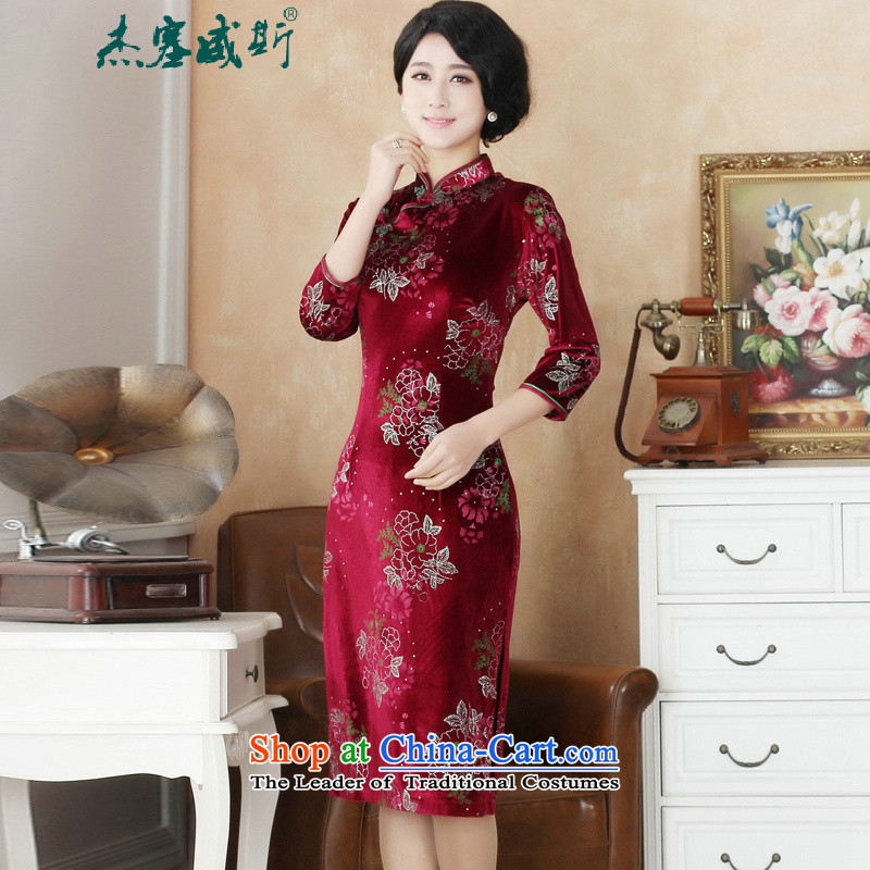 In the spring and autumn jie female Tang dynasty elegant qipao daily wedding banquet Mock-neck manually detained Kim scouring pads cheongsam dress�07-12 Female Red燤