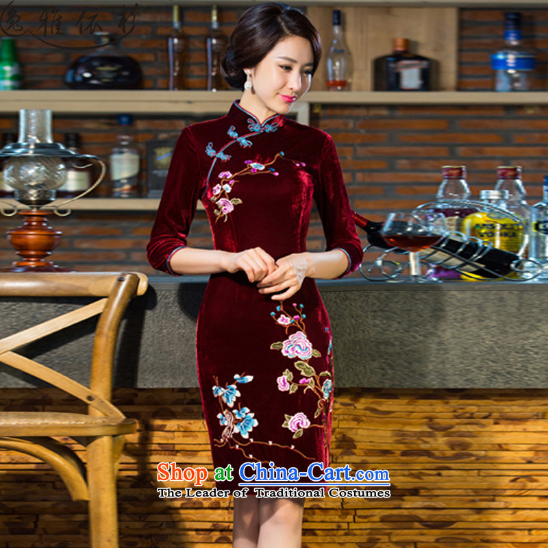 In accordance with the performance, 2015 Fall_Winter Collections new moms with scouring pads in the skirt qipao Kim long-sleeved retro wedding SL01 wine red�L