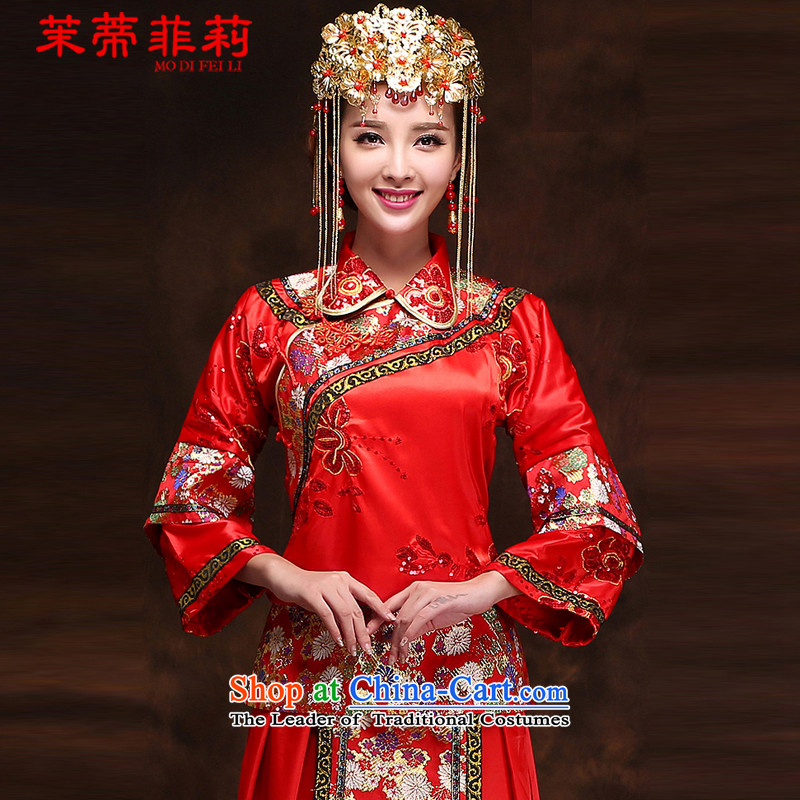 Tifi Li Hsiu-energy services to the dragon use autumn Wo, bridal dresses ancient Chinese wedding gown wedding long marriages bows services red?xs