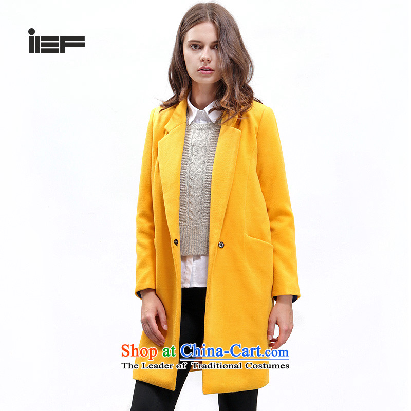 In accordance with the uniform love IEF 2015 winter coats female woolens gross? butted long Korean Sau San a windbreaker 6916B-4664R- Yellow燤