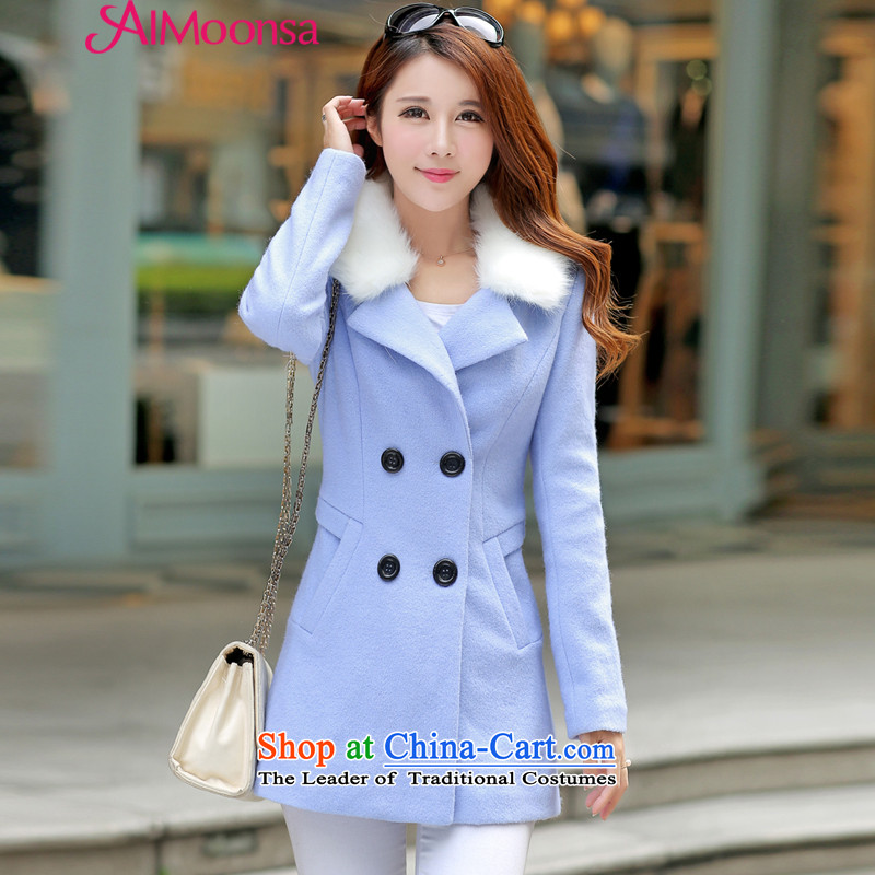 2015 Autumn and winter aimoonsa new double-wool a wool coat lapel gross? Korean female jacket ladies hair so Sau San coats blue聽L