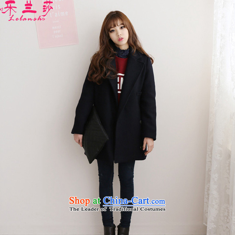 Alam Shah America 2015 autumn and winter new women's thick wool a wool coat, double-gross female Korean jacket? black L