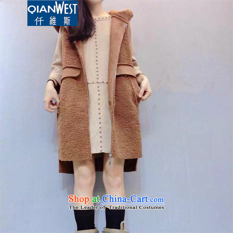 The Scarlet Letter, thick sister larger female autumn and winter coats�15 autumn and winter large female new mm thick Lamb Wool vest jacket HOODIE AND COLOR�L爎ecommended weight 140-160 characters catty