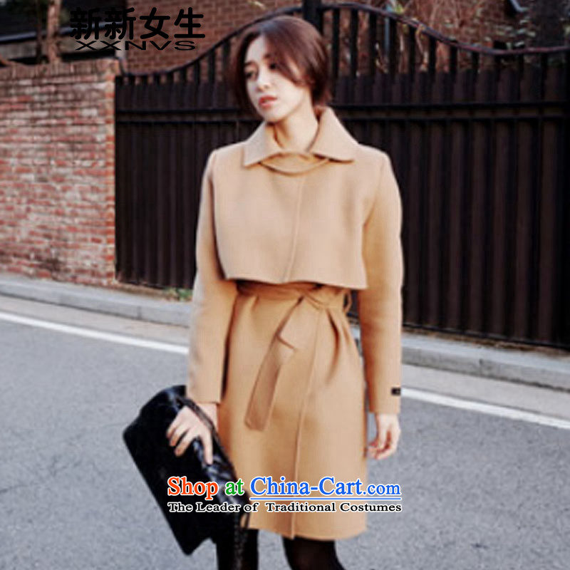 The new girls?2015 Autumn and Winter Female winter coats on new girl? Long 2015 autumn and winter temperament Korean Sau San foutune tether strap a jacket?and color?_M female _