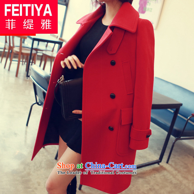 The Philippine economy Nga new wool coat girl in long?) a jacket Korea Sau San edition solid color RED?M