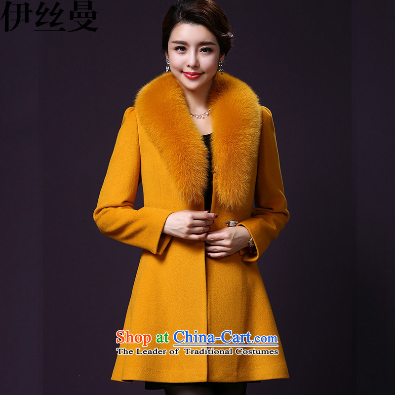 El Wire Cayman 2015 autumn and winter new products for women with mother wool a jacket NRJ6210 turmeric yellow XXL