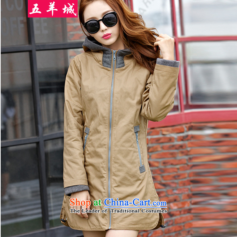 Five Rams City larger female Wind Jacket Fall_Winter Collections of female graphics thick, thin Korean thick sister leisure wild temperament shirt-sleeves 116聽4XL recommendations about 150