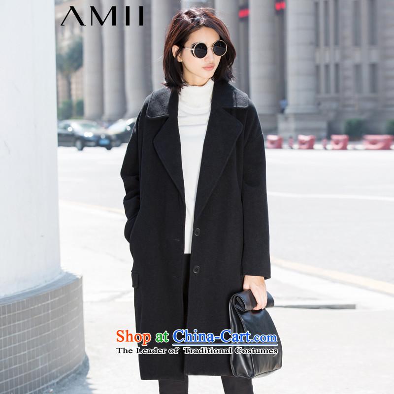 Amii- minimalist -2015 winter new liberal larger suits for Lok shoulder solid color jacket 11581796 gross? blackXXL