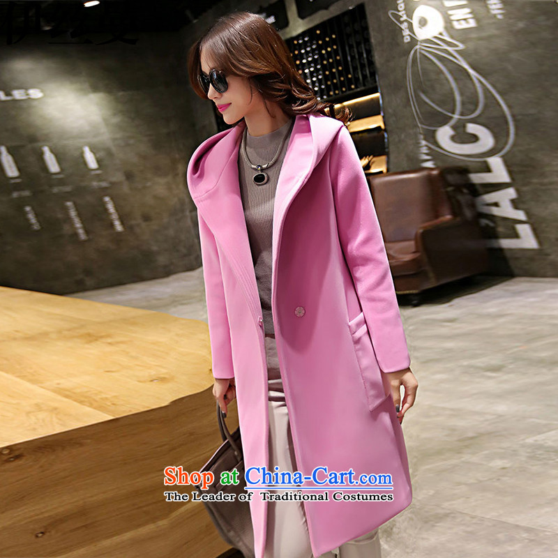 El Wire Cayman 2015 autumn and winter New Women Korean Sau San Mao ball a wool coat girl in long hair? larger L2238 jacket pink L2238 M
