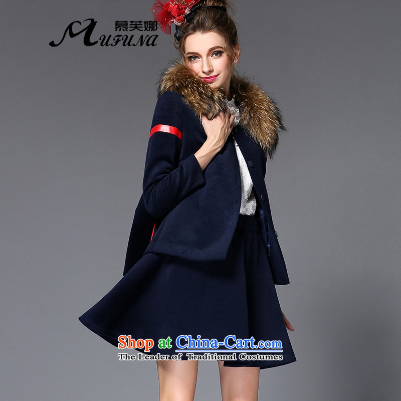 The Europe and improving access high-end larger women 2015 autumn and winter thick mm video thin kit jacket + Gross Gross?? skirt two kits Q221 blue 2XL