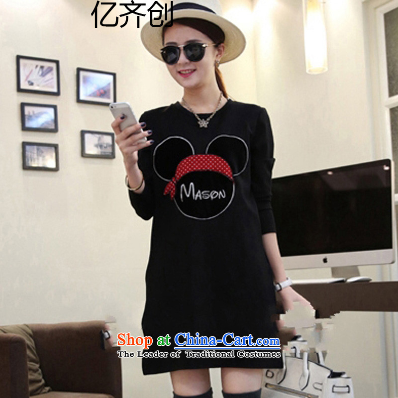 Billion gymnastics 2015 autumn and winter to increase women's code thick mm autumn in new boxed long-sleeved long thick sister knitted dresses G8721 female black XXXL