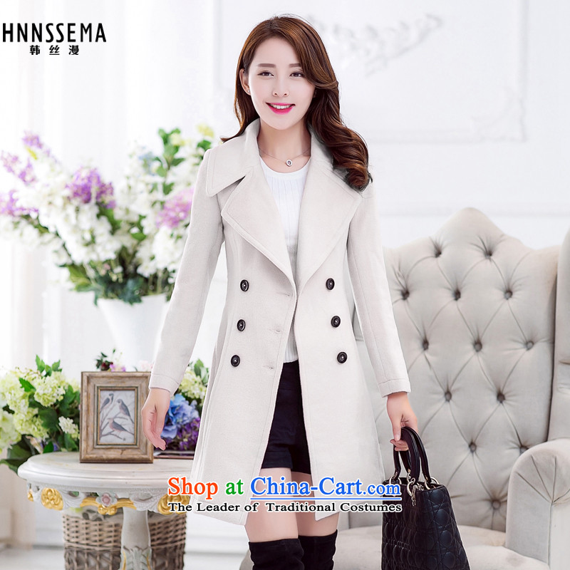 2015 Autumn and winter HNNSSEMA new Korean Sau San Mao? in the lapel large coats of the cotton waffle warm a Women's jacket m White燬