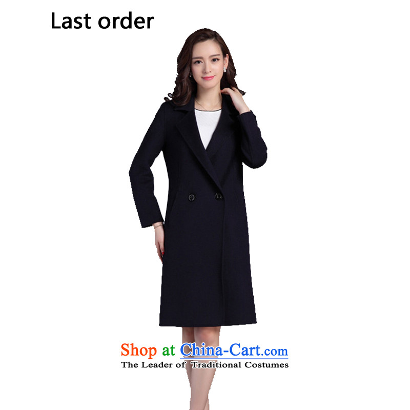 The new two-sided order2015 last cashmere overcoat female Korean wild female jacket coat? Navy L