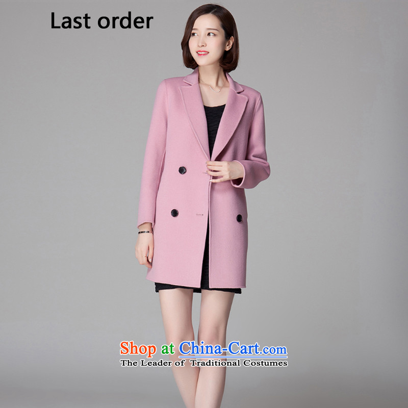 The new two-sided order2015 last cashmere overcoat pink?L