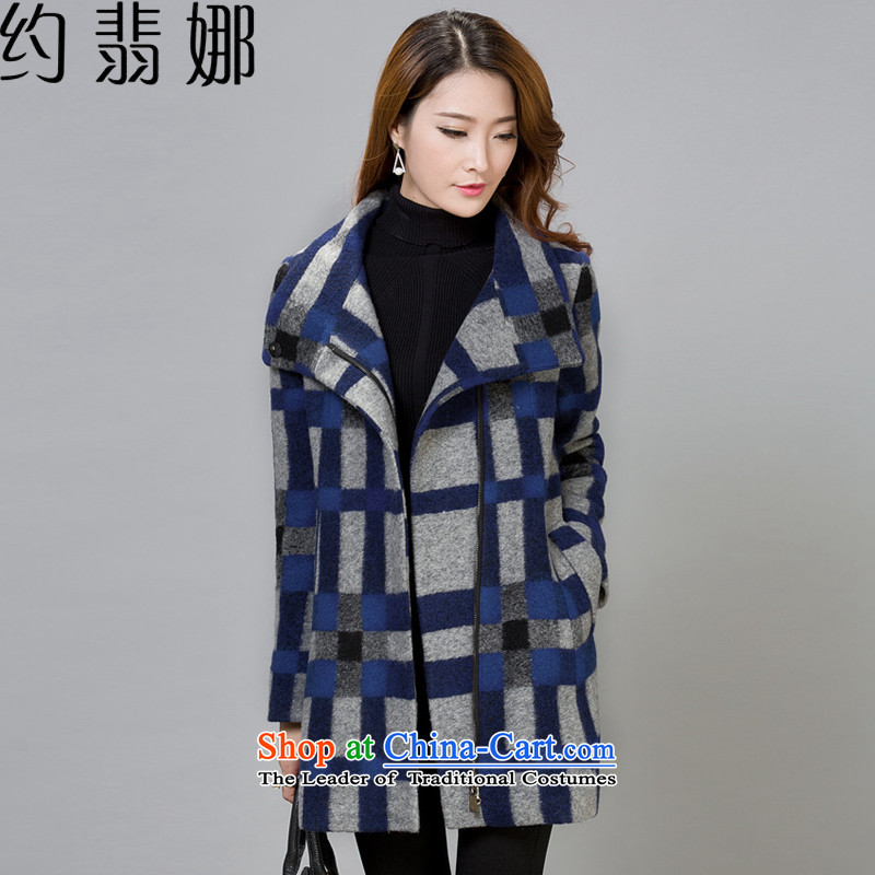 About the聽2015 autumn and winter desecrated by the new short of female latticed temperament jacket is larger gross a wool coat autumn and winter loose video thin聽1678聽blue patterned聽XXL