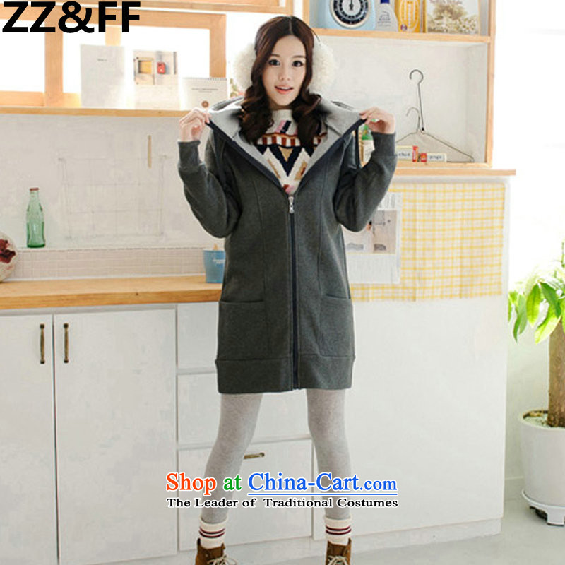 The new 2015 winter Zz_ff larger female thick long in Nogun mm200 cap video thin plus lint-free toiletries jacket thick dark gray聽XXXXXL_5257 recommendations 180-200 catties_