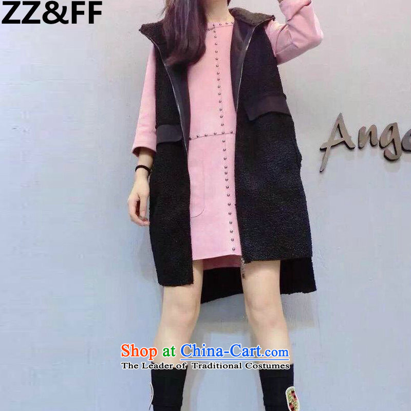 2015 European sites Zz&ff autumn and winter large female thick mm200 catty to increase new Lamb Wool vest jacket hoodie female blackXXXXXL( recommendations 180-200 catties)