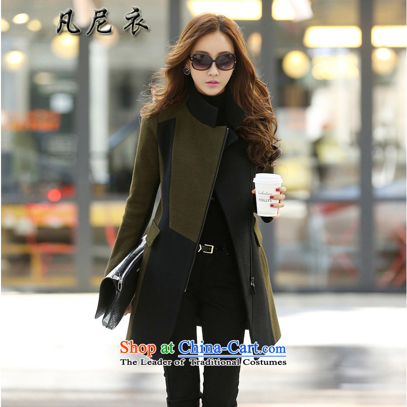 Fanni yi 2015 winter clothing new Korean female army long-sleeved green a wool coat Sau San over the medium to longer term, video thin hair? jacket green M