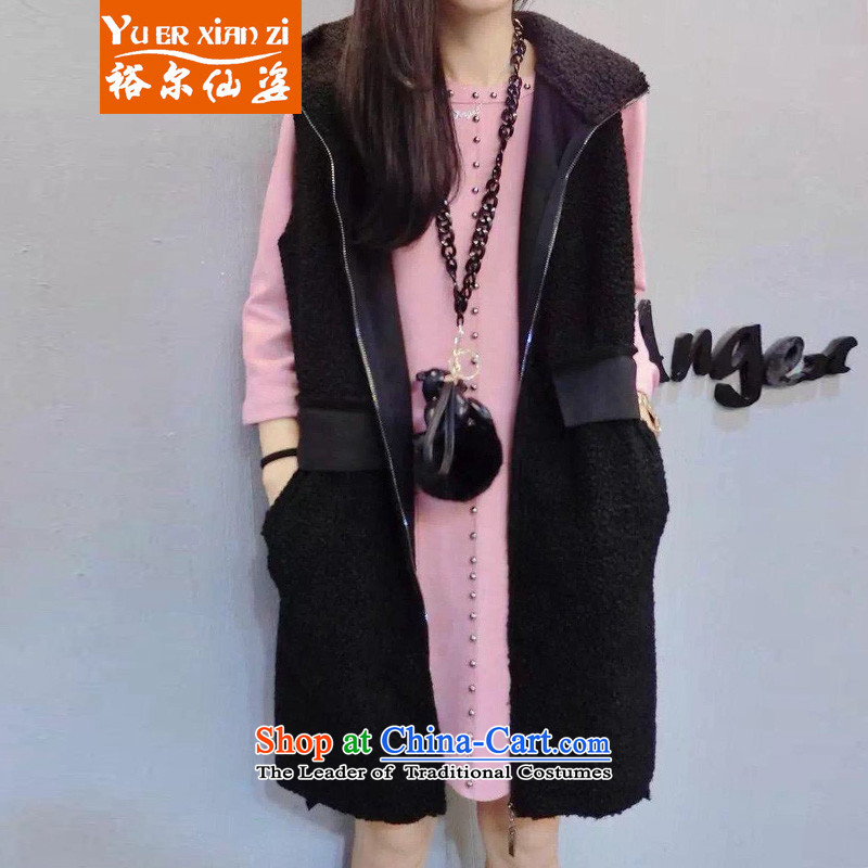 Yu-Sin-thick sister to increase women's code 2015 autumn and winter new lamb kema focused mm leisure cap vest female5252 Black5XL175-200 recommends that you Jin