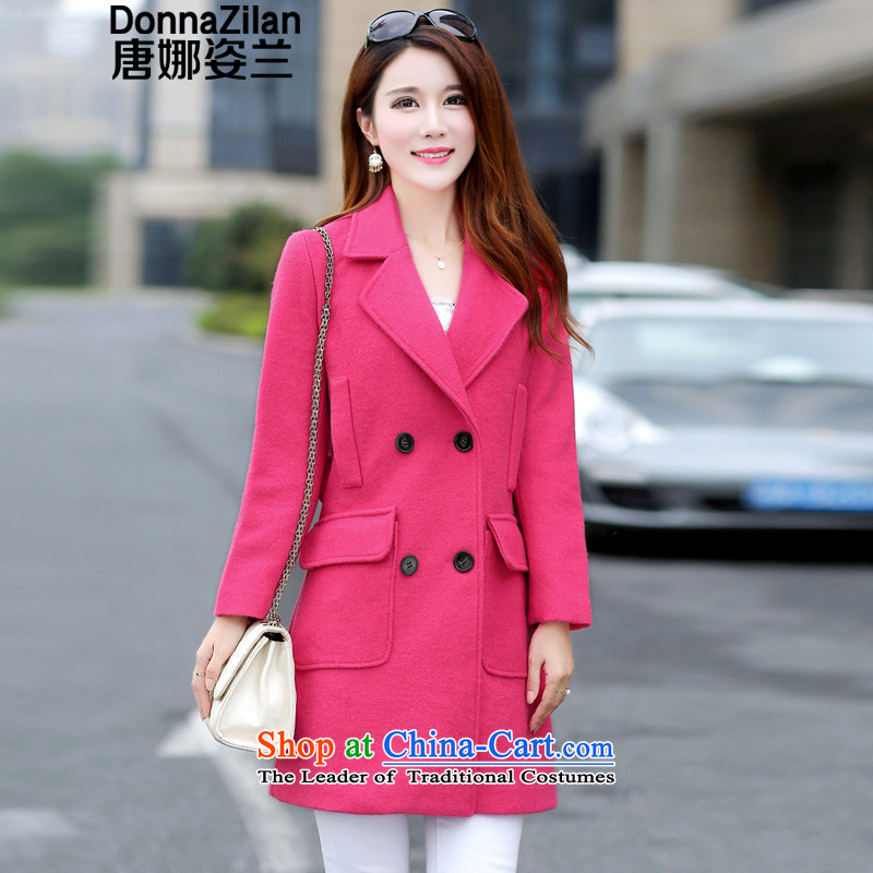 Gigi Lai, Donna winter clothing new double-coats that long hair? For Women Korean female jacket is leisure fleece large Korean women a wool coat rose red燬