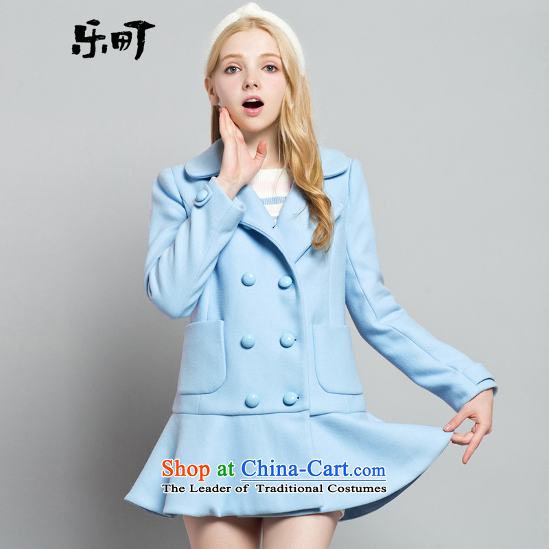 Lok-machi 2015 winter new products female sweet gentlewoman wind, double-Low waist petticoats C1AA44720 BLUE燬_155 Coats
