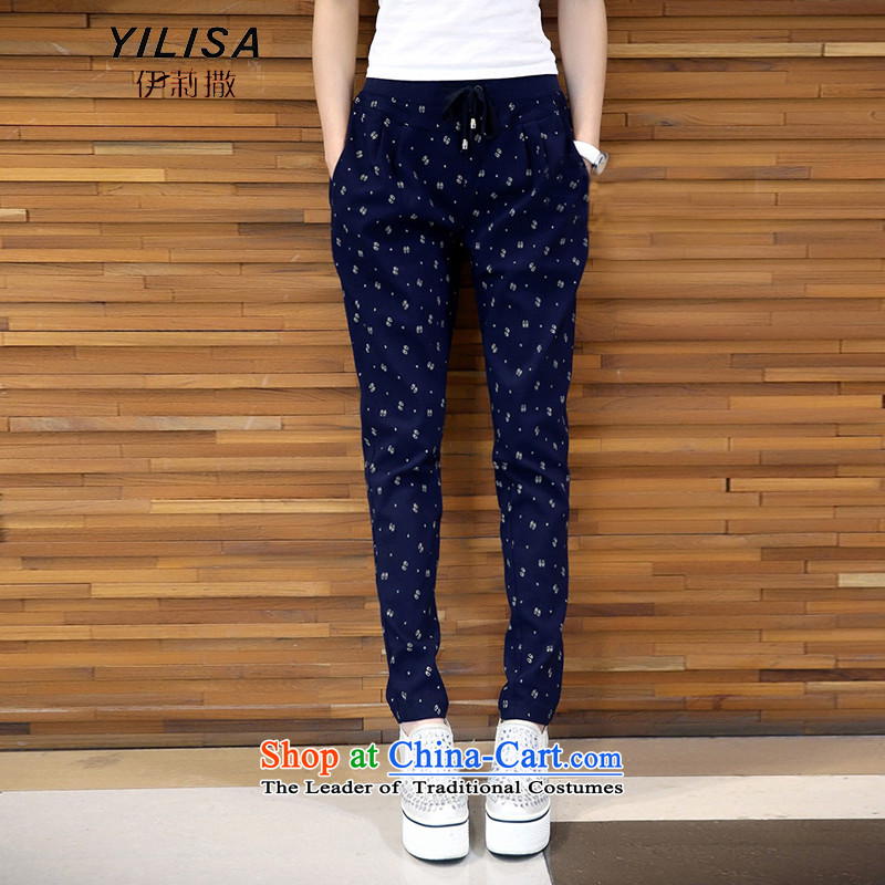 Elizabeth sub-To increase the number of female pants thick mm Fall_Winter Collections Plus elastic waist-thick wool pants thick sister saika trousers Castor Harun trousers K386 navy聽3XL
