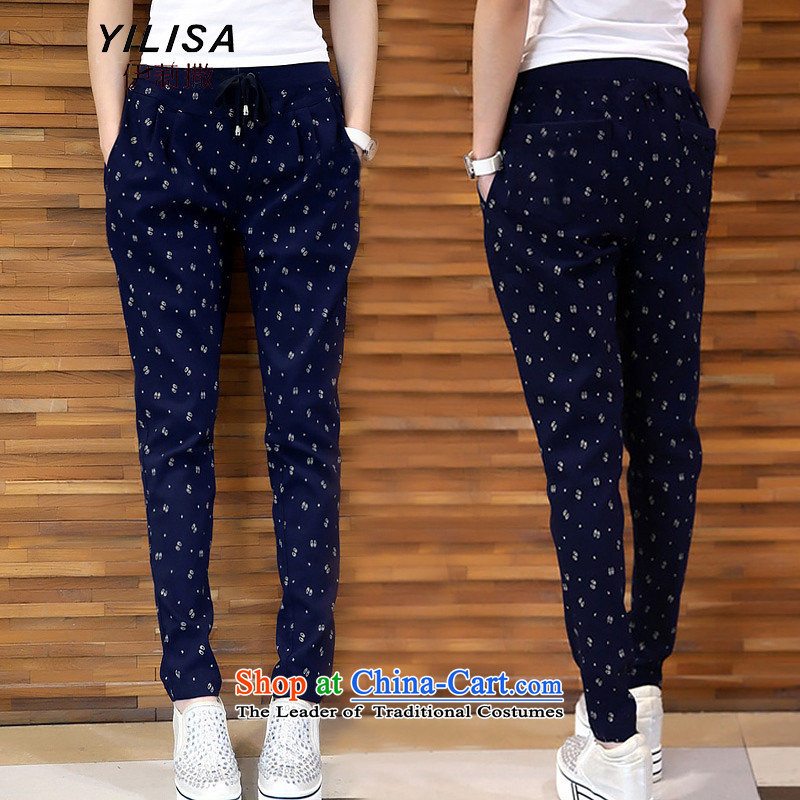 Elizabeth sub-To increase the number of female pants thick mm Fall/Winter Collections Plus elastic waist-thick wool pants thick sister saika trousers Castor Harun trousers K386 navy3XL, Elizabeth (YILISA sub-shopping on the Internet has been pressed.)