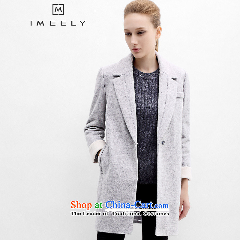2015 Fall_Winter Collections IMEELY New Pure Color car line simple spell color woolen coats girl? What gross sub-coats gray燬