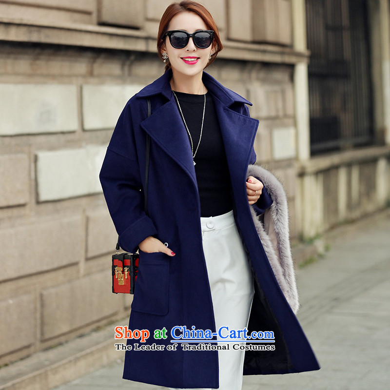 8po pockets in reverse collar long coats gross? Navy聽L