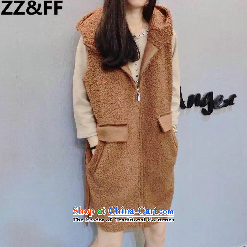 2015 European sites Zz_ff autumn and winter large female thick mm200 catty to increase new Lamb Wool vest jacket hoodie girl and color聽XXL_ recommendations 120-140 catties_