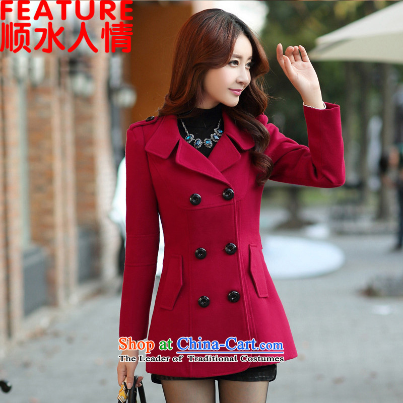 The unaffordability of personal 2015 winter clothing new Korean version of Sau San? jacket women gross 200T wine red M