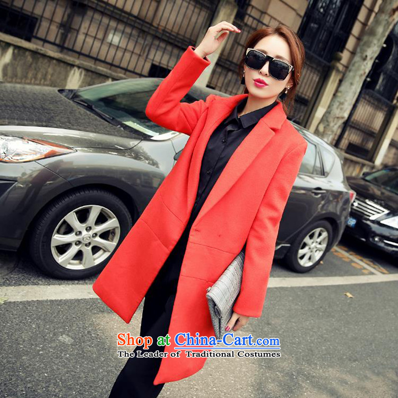 Statements were made by Lau of聽autumn and winter 2015 new products Sau San video thin a wool coat jacket SA RED聽M