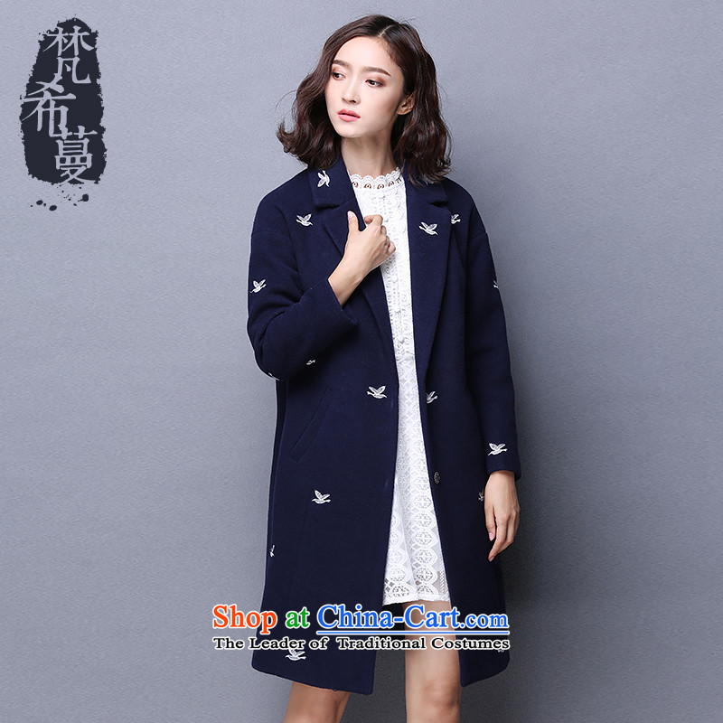 Van Gogh Greek Golden Harvest autumn and winter 2015 new Korean fashion lapel birdies in the jacket embroidered with a straight long coats of female? 66165??Navy?M