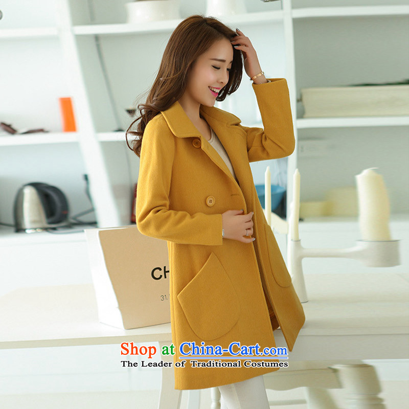 Statements were made by the fall of the new Lau Hin thin, long-Sau San lapel gross jacket SAA Yellow M?