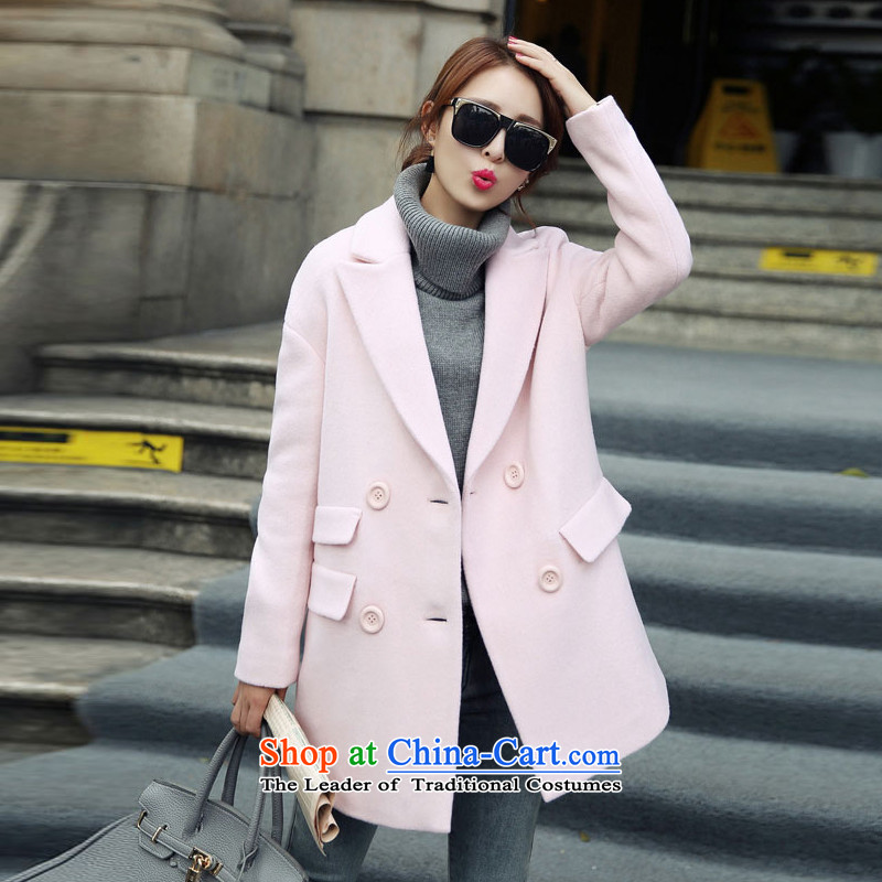 Statements were made by the new Fall Lau, Double Row port lapel Wild Hair? pocket jacket SA pink聽S