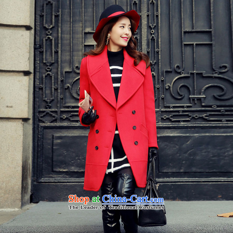 Statements were made by Lau autumn and winter new Korean long thin graphics Sau San, a wool coat SA RED?XL